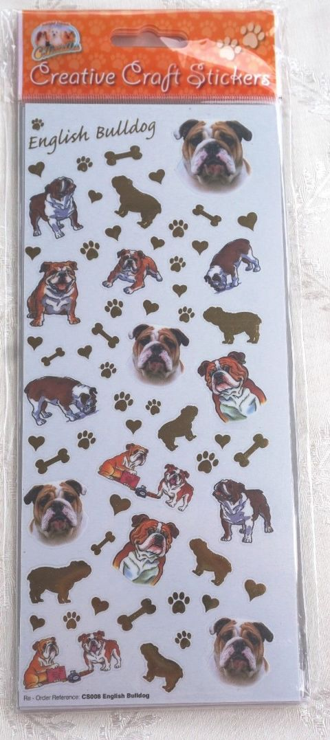 ENGLISH BULLDOG - CARD CRAFT STICKERS SCRAPBOOKING